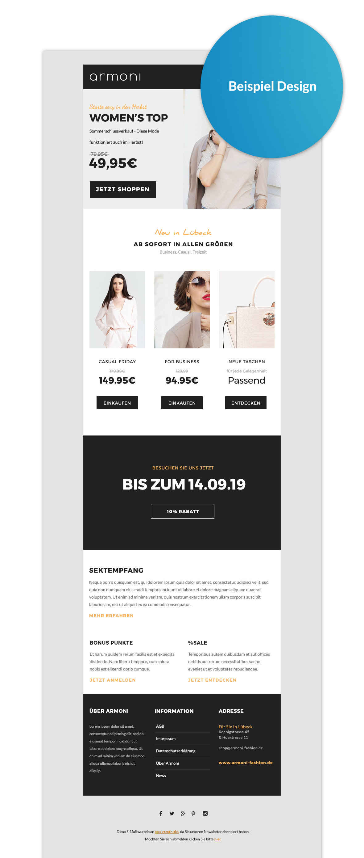 Newsletter 2Go Template Design Beispiel